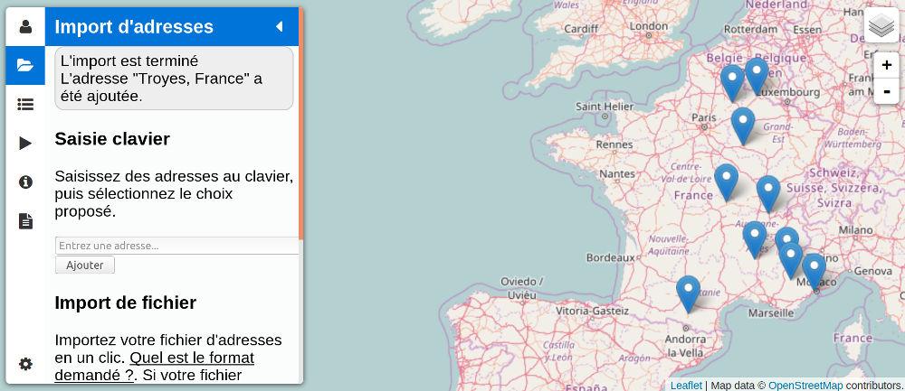 Adresses positionnées sur la carte depuis un fichier Excel