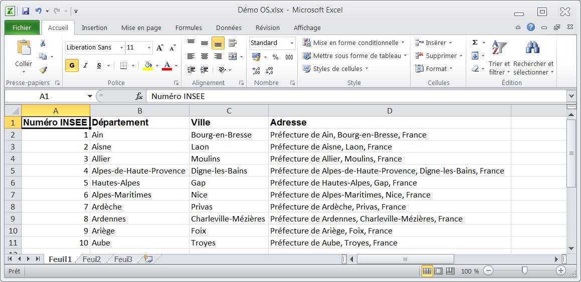 Fichier Excel contenant des adresses et d'autres champs