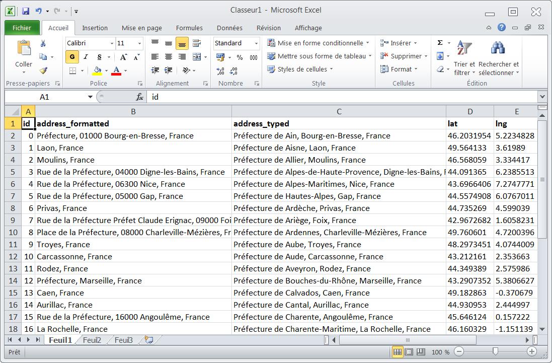 Coordonnées GPS dans Excel