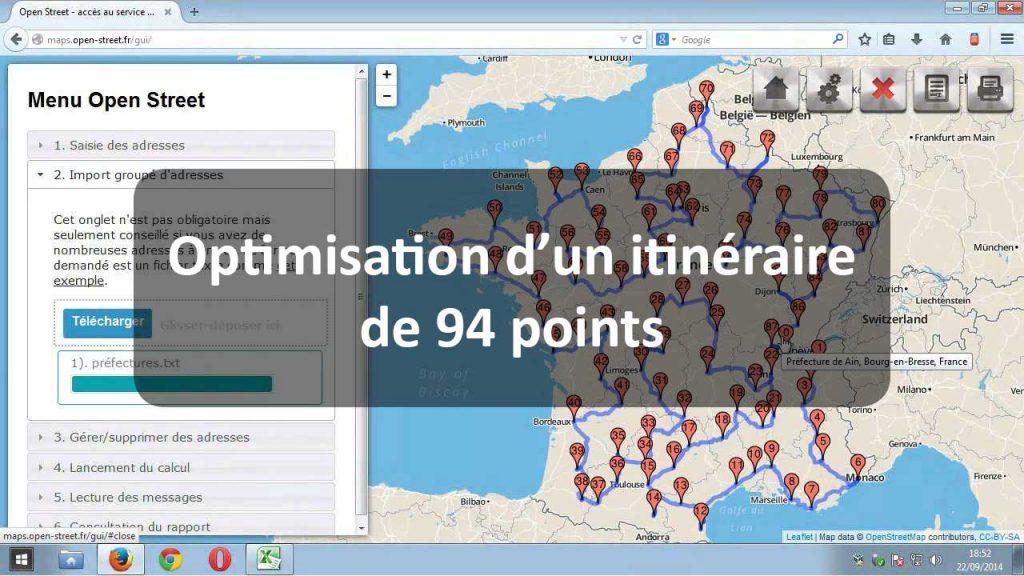 Présentation vidéo d'Open Street avec l'optimisation d'un itinéraire de 94 points