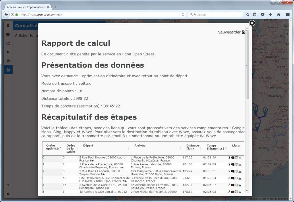Rapport d'optimisation d'itinéraires lu depuis un PC